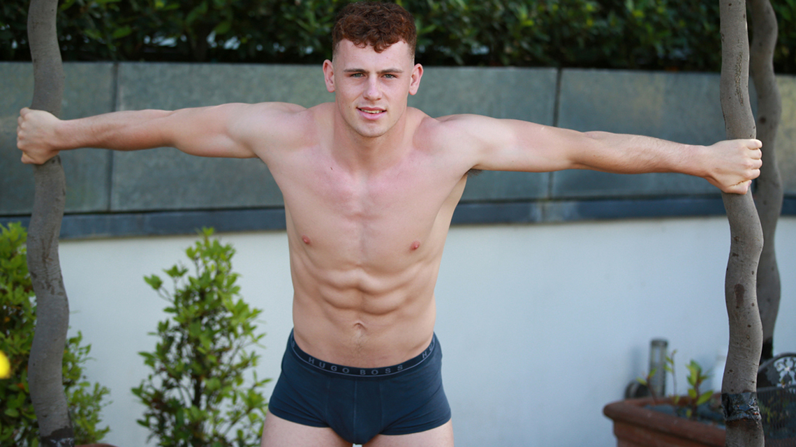 Young Footballer Tom Shows off his Super Athletic Body & Big Uncut Cock!