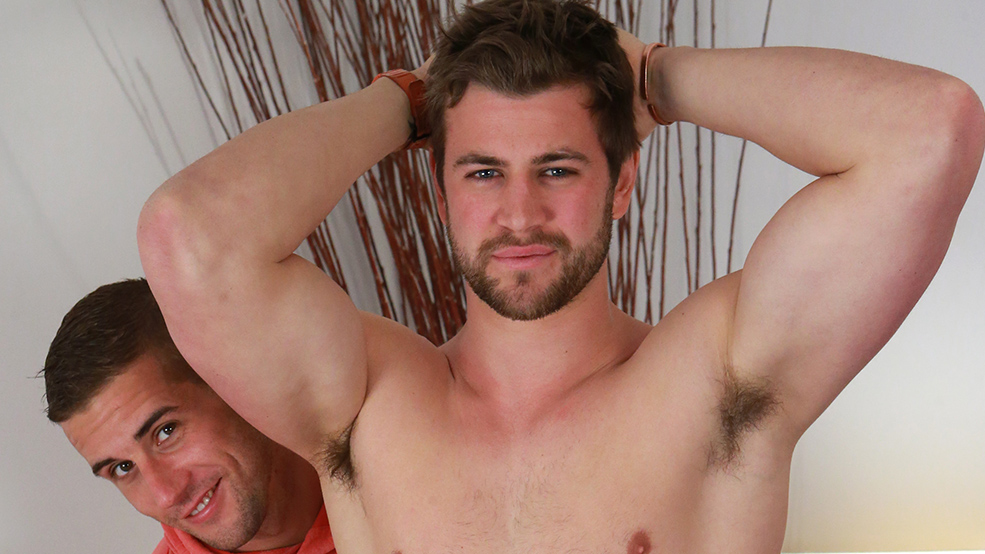 Bonus Video of Cory's Photo Shoot - Straight Rugby Stud gets his 1st Manhandling