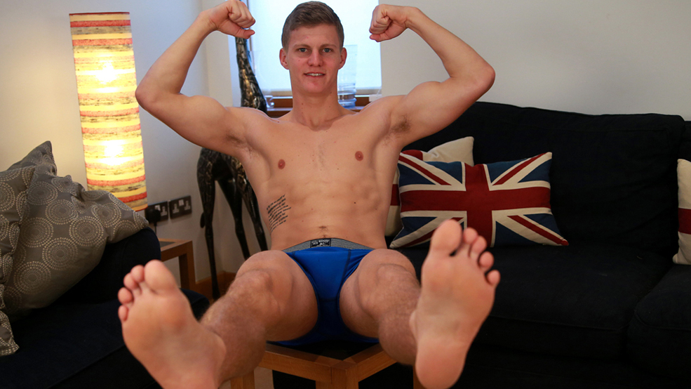 Bonus Video of Greg Hill's Photo Shoot - Fit Straight Hunk Shows his Smooth Body & Hard Cock!
